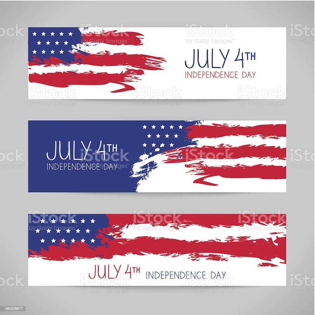 Banners with american flag. Independence Day design vector art illustration