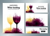 Banners with background wine stains