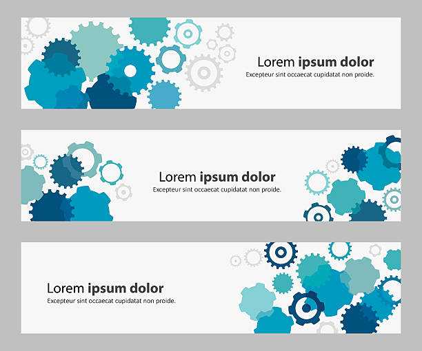banners with blue gears and copy space text - e-learning not icons stock illustrations