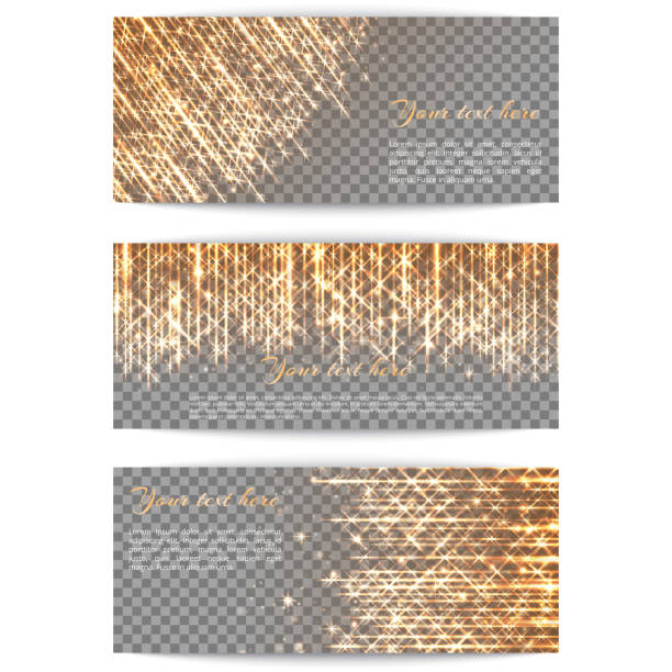 Banners with bright golden rays A collection of brilliant banners with a golden light effect for a festive design. glossa stock illustrations