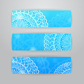 Set of three horizontal banners with bright abstract background