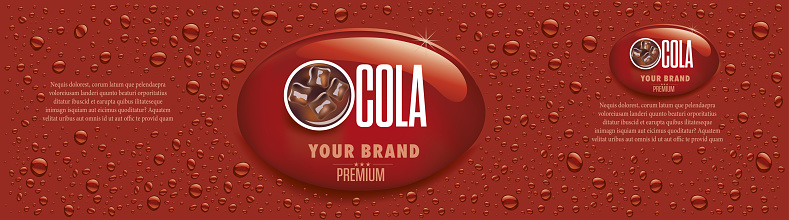 Banners with cola, ice cubes, many drops, packaging label
