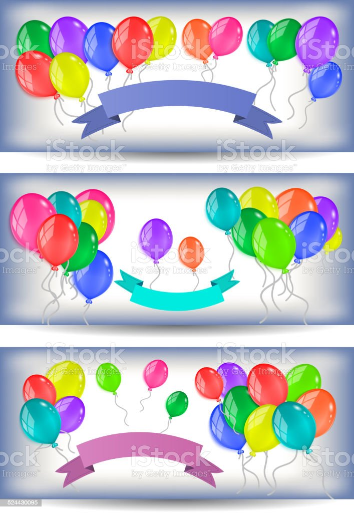 Banners with colorful balloons and ribbons vector art illustration