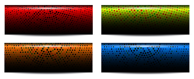 Banners with colorful halftone geometric circles, mosaic.