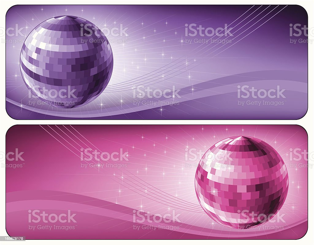 Banners with disco balls vector art illustration