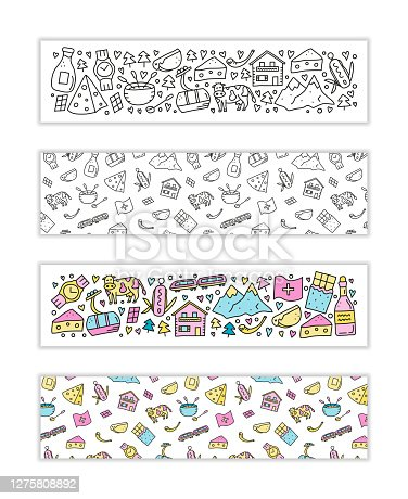 istock Banners with doodle Switzerland travel icons. 1275808892