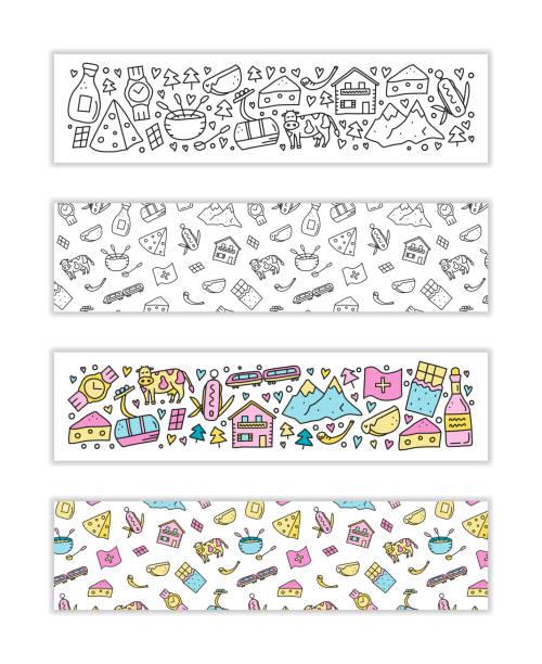 banner mit doodle schweiz reise-icons. - raclette stock-grafiken, -clipart, -cartoons und -symbole