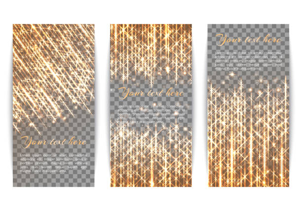 Banners with flickering lights Set of holiday banners with winter lights and golden rays glossa stock illustrations