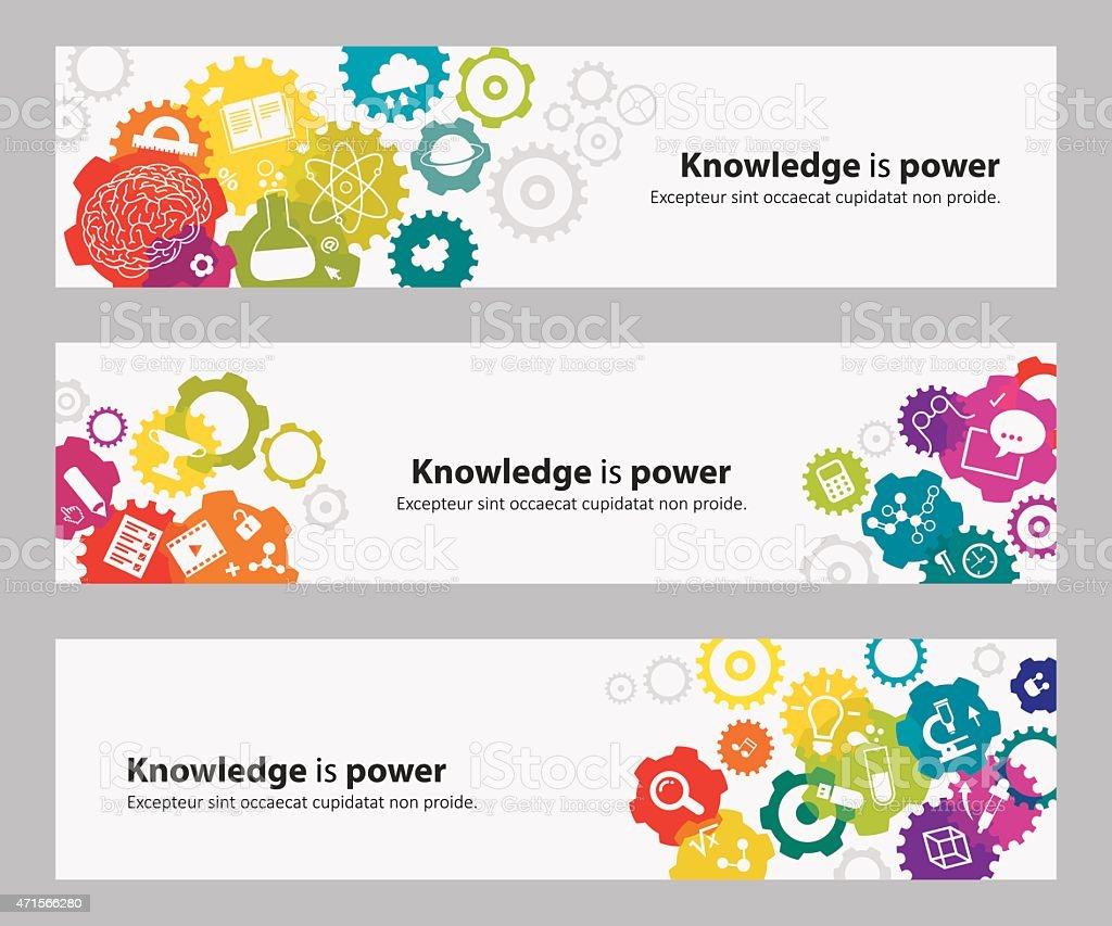 Banners With Gears And Education Icons vector art illustration