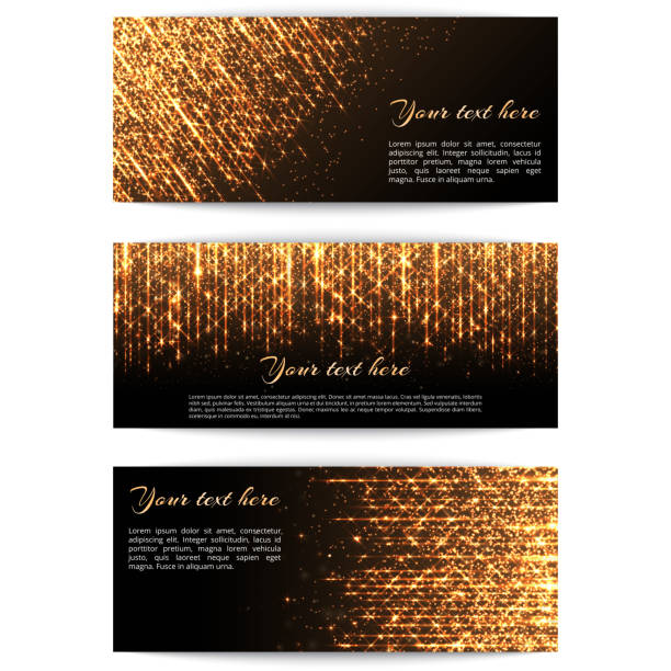 Banners with golden lights A set of banners with bright golden sparkles and star beams for festive decoration. glossa stock illustrations