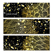 Banners with golden pattern.