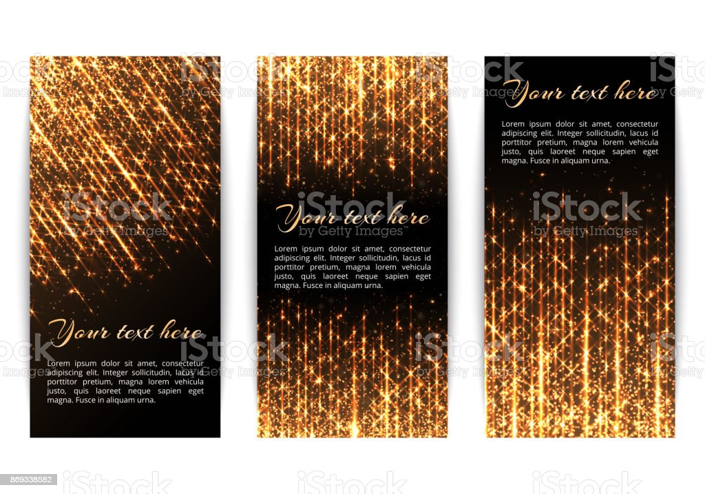 Banners with golden sparkles vector art illustration