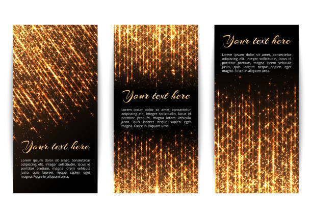 Banners with golden sparkles Collection of New Year's banners with flickering golden rays and particles of sparkling lights. glossa stock illustrations