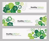 EPS 10, Nicely layered, no transparencies used. Used typography Myriad Pro and Calibri. Three banners with different copy space text align. Each banner includes different Line icons that represents healthy living/healthy lifestyle. Those are: Do not smoke; Be a healthy weight; Be physically active; Eat healthy; Avoid alcohol; Protect yourself from pollutants; Take care for oral hygiene; Do regular checks at the doctor; Drink lot of water; Avoid stress and learn relaxation techniques. Banners are filled with different green flat gears. They are overlapping in a random pattern and serve as a basis background for icons.