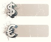Banners with hand drawn currency sign - dollar and euro