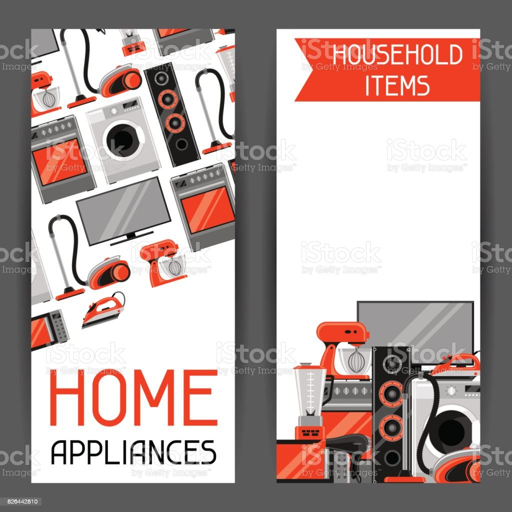 Banners With Home Appliances Household Items For Sale And