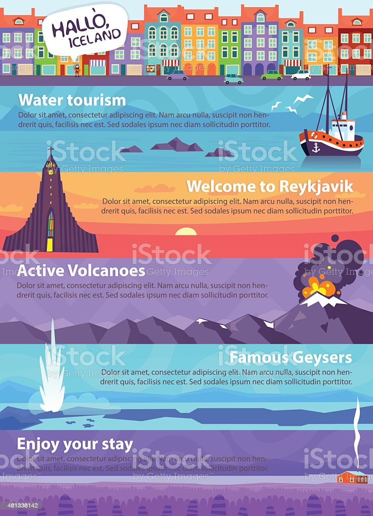Banners with Iceland sights vector art illustration