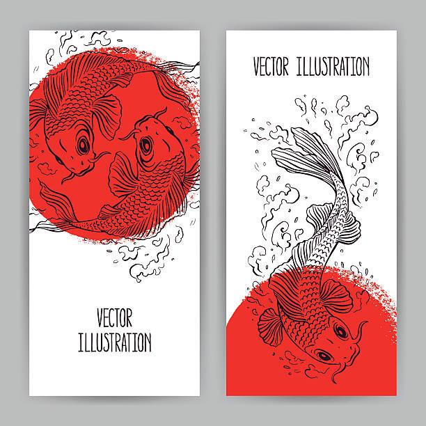 stockillustraties, clipart, cartoons en iconen met banners with japanese carps - carp