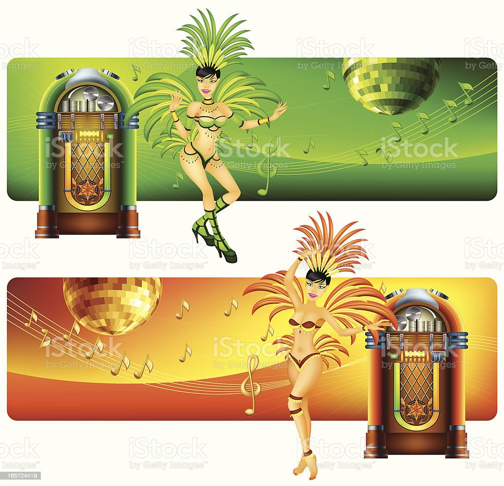 Banners with Jukebox and Samba Dancer royalty-free stock vector art
