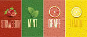 istock Banners with lemon, grapefruit, strawberry, mint leaf and many juice drops 1007801602