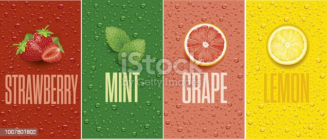 Banners with lemon, grapefruit, strawberry, mint leaf and many drops