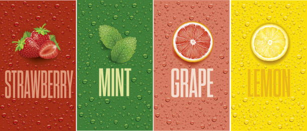 illustrazioni stock, clip art, cartoni animati e icone di tendenza di banners with lemon, grapefruit, strawberry, mint leaf and many juice drops - fragole