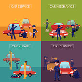 Set of square banners with auto mechanics, car service workers fixing, repairing, servicing cars, cartoon vector illustration. Auto mechanics repairing, cleaning, servicing, fixing, painting a car