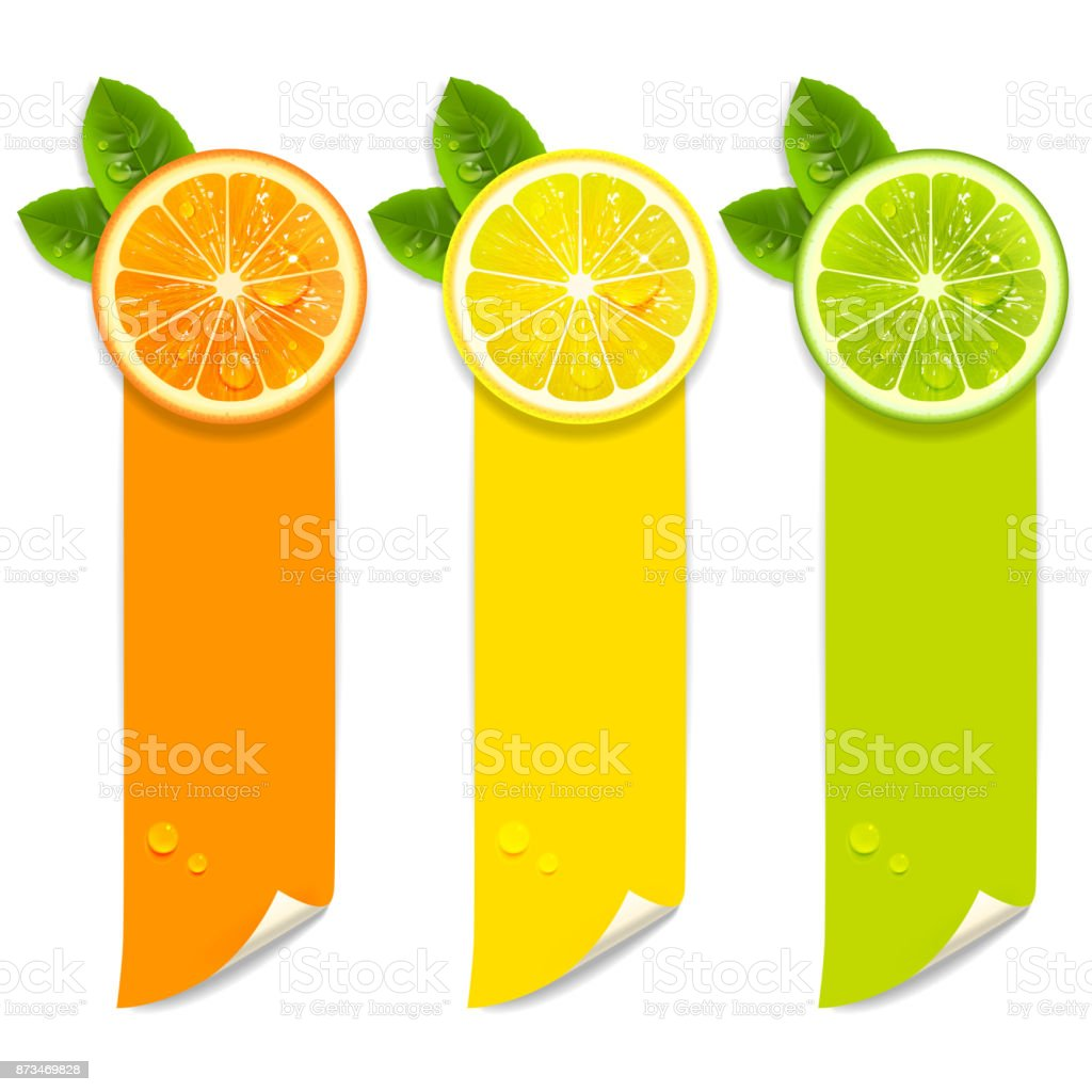 Banners with Orange, Lemon and Lime vector art illustration