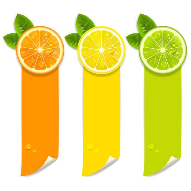 stockillustraties, clipart, cartoons en iconen met banners met sinaasappel, citroen en limoen - tasting