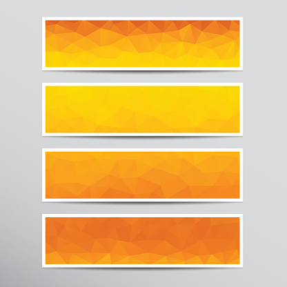 Banners with orange polygons