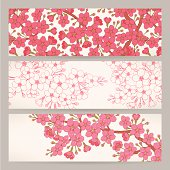 banners with pink cherry flowers