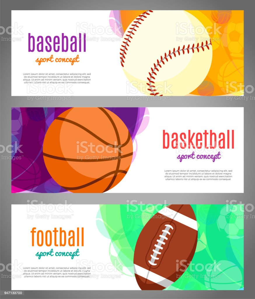 Banners with sports balls - basketball, baseball, football. Sports...