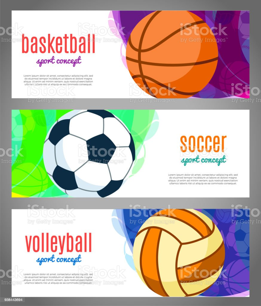 Banners with sports balls - basketball, volleyball, football. Sports tournaments in basketball, volleyball, soccer with discounts, sale. Vector Illustration. vector art illustration
