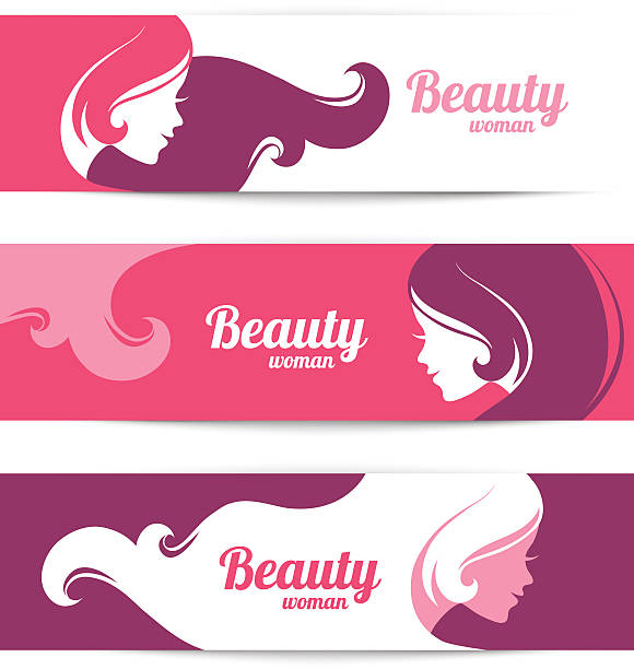 banners with stylish beautiful woman silhouette. template design - beauty salon stock illustrations, clip art, cartoons, & icons