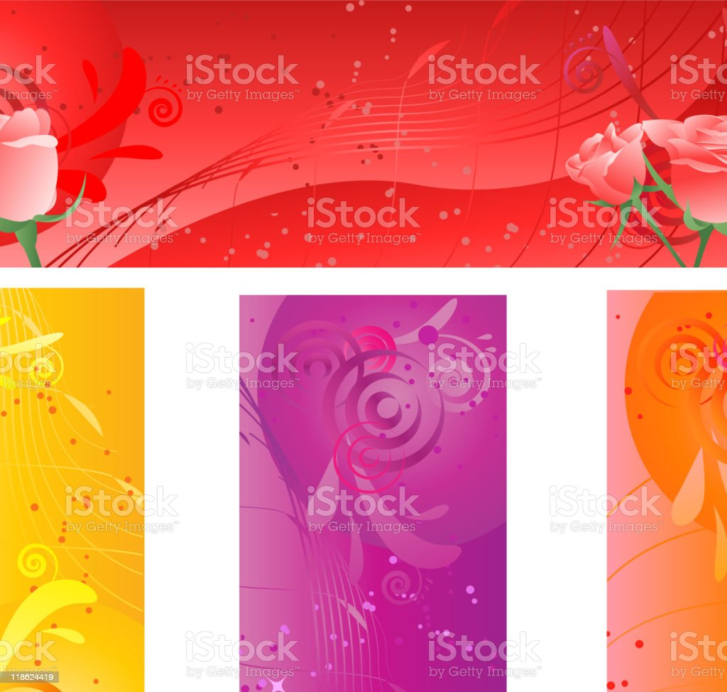 Banners with swirl multicolored design and roses royalty-free stock vector art