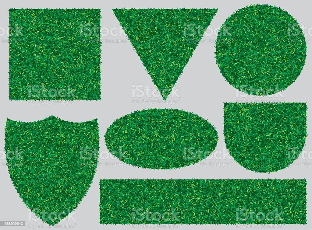 banners with texture of green grass for design vector art illustration