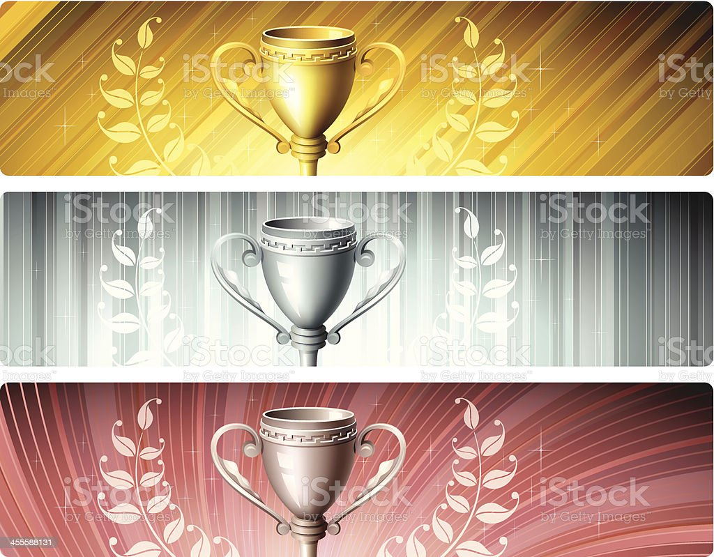Banners with Trophies royalty-free stock vector art