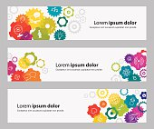 Banners With Vibrant Gears And Webinar Related Icons
