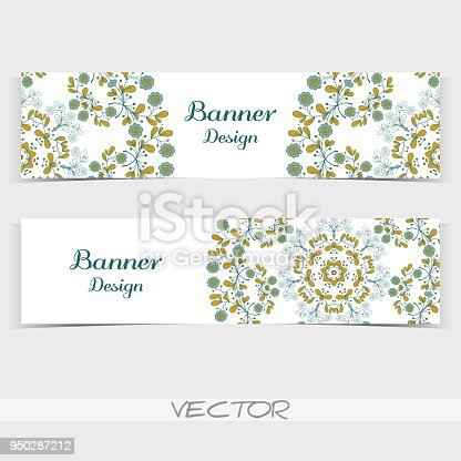 Set of banners with hand drawn flowers on white background. Vector illustration.