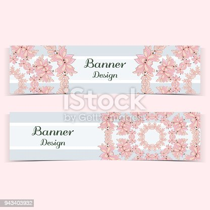 Set of banners with hand drawn flowers on blue background. Vector illustration.