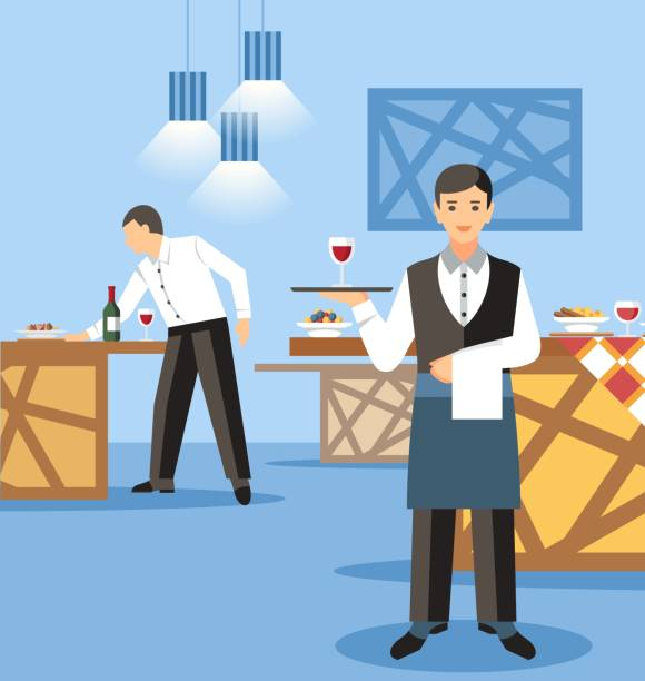 illustrazioni stock, clip art, cartoni animati e icone di tendenza di banquet catering service flat vector illustration - portrait of waiter and waitress holding a serving