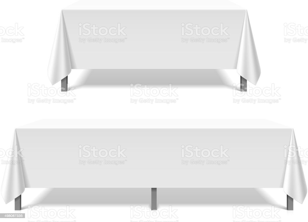 Banquet Tables Covered With White Tablecloth Vector Art Illustration