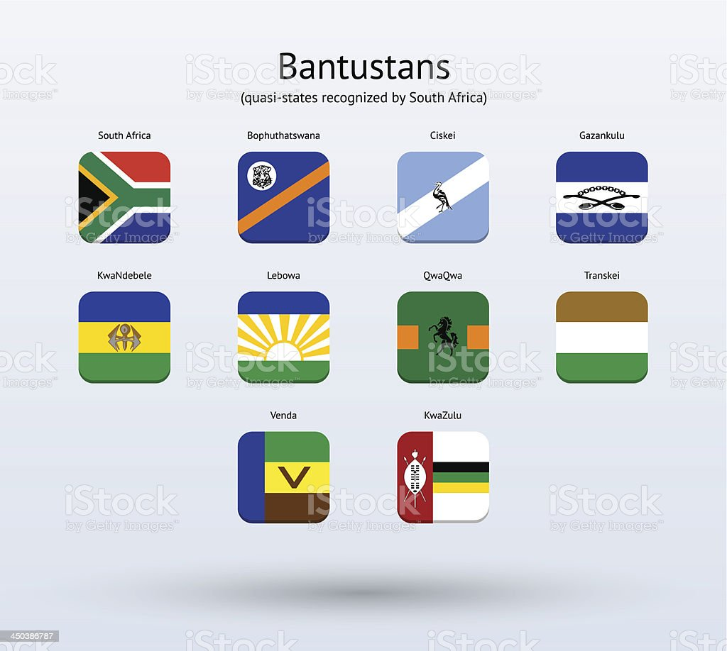 Bantustans Square Icons Flags Collection royalty-free stock vector art