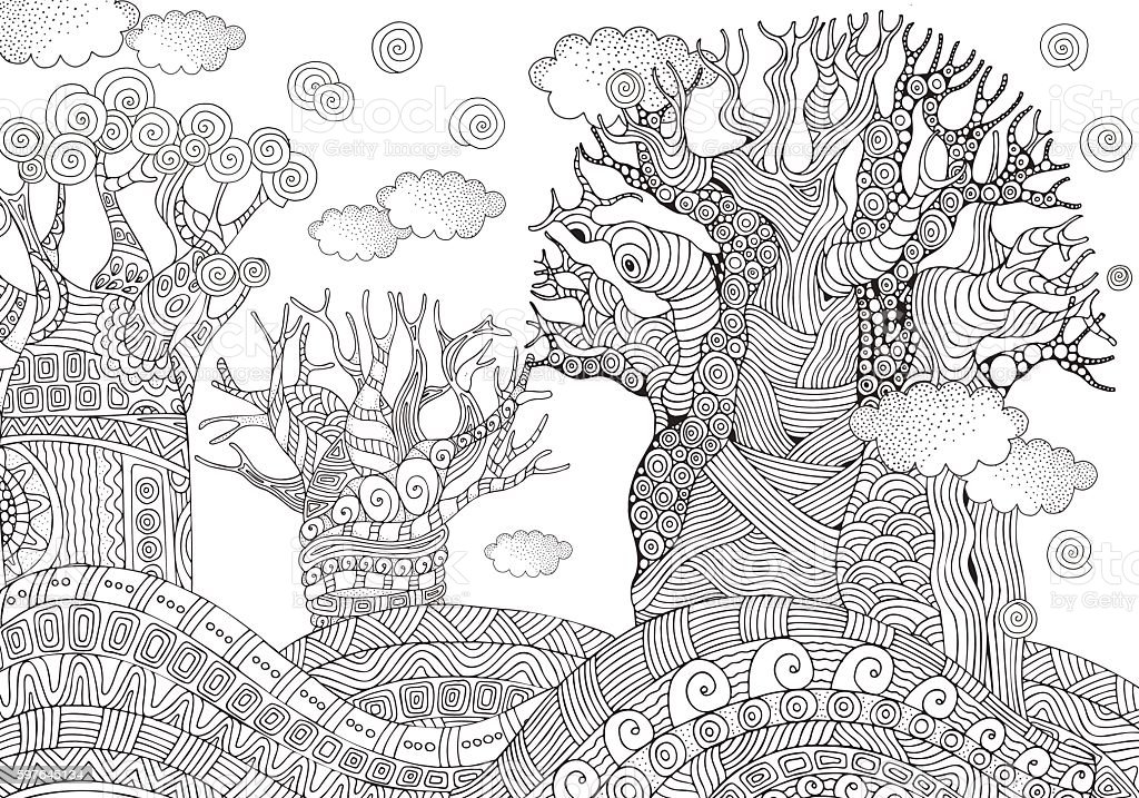 Baobab tree. African tree. Coloring book page. A4 size. vector art illustration