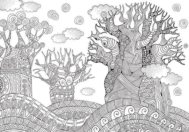 Baobab tree. African tree. Coloring book page. A4 size. - ilustración de arte vectorial