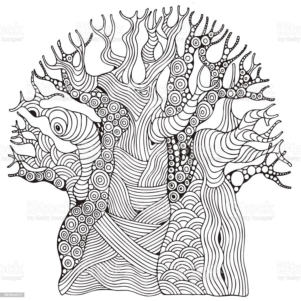 Baobab tree. African tree. Coloring book page vector art illustration