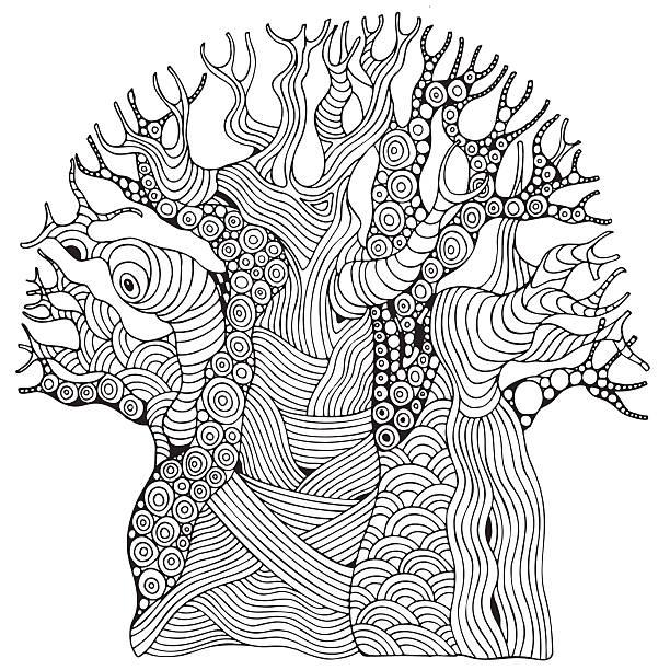 Baobab tree. African tree. Coloring book page - ilustración de arte vectorial