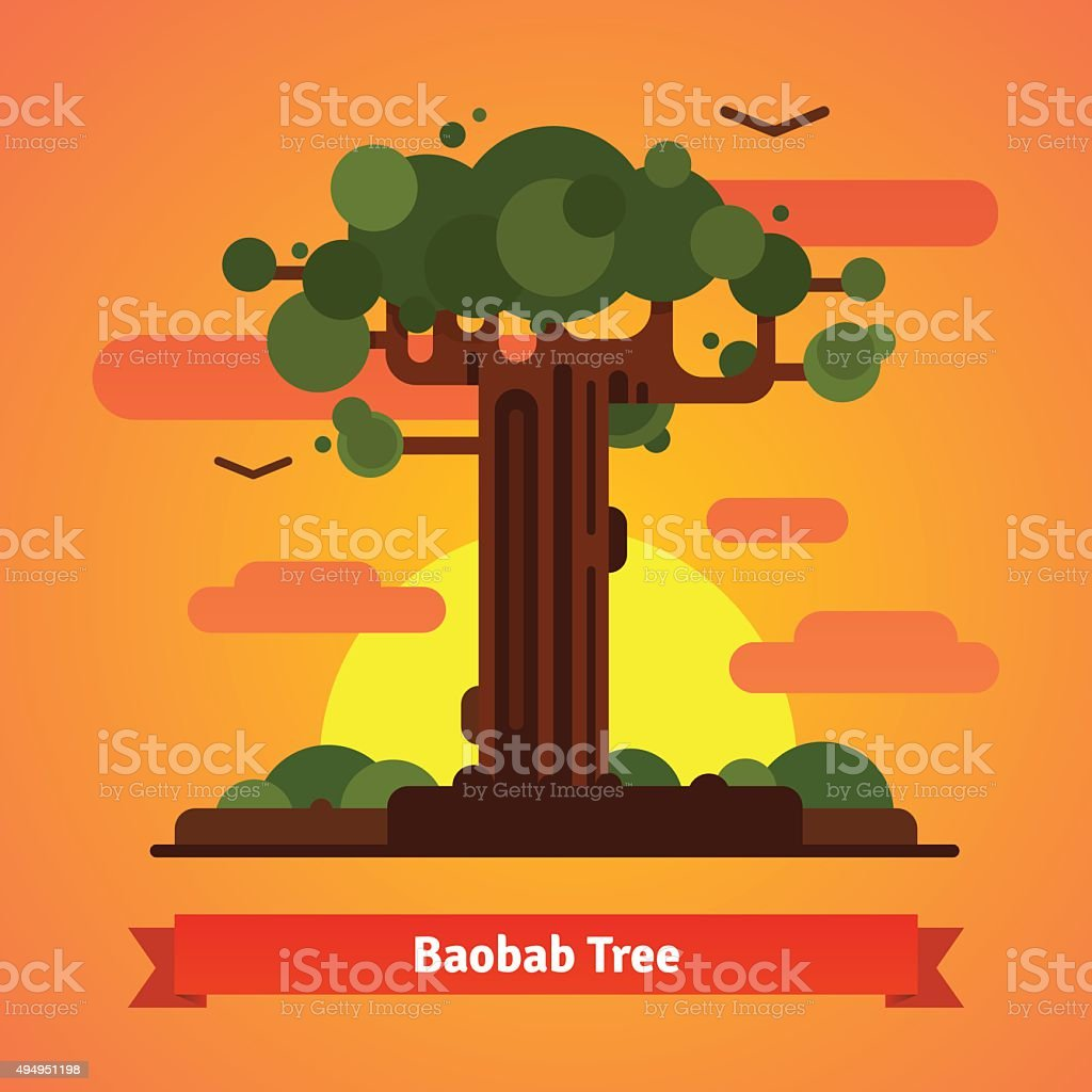 Baobab tree evening sunset scene vector art illustration