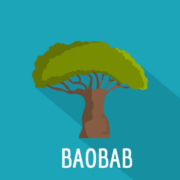 Icono del árbol de Baobab, estilo plano - ilustración de arte vectorial
