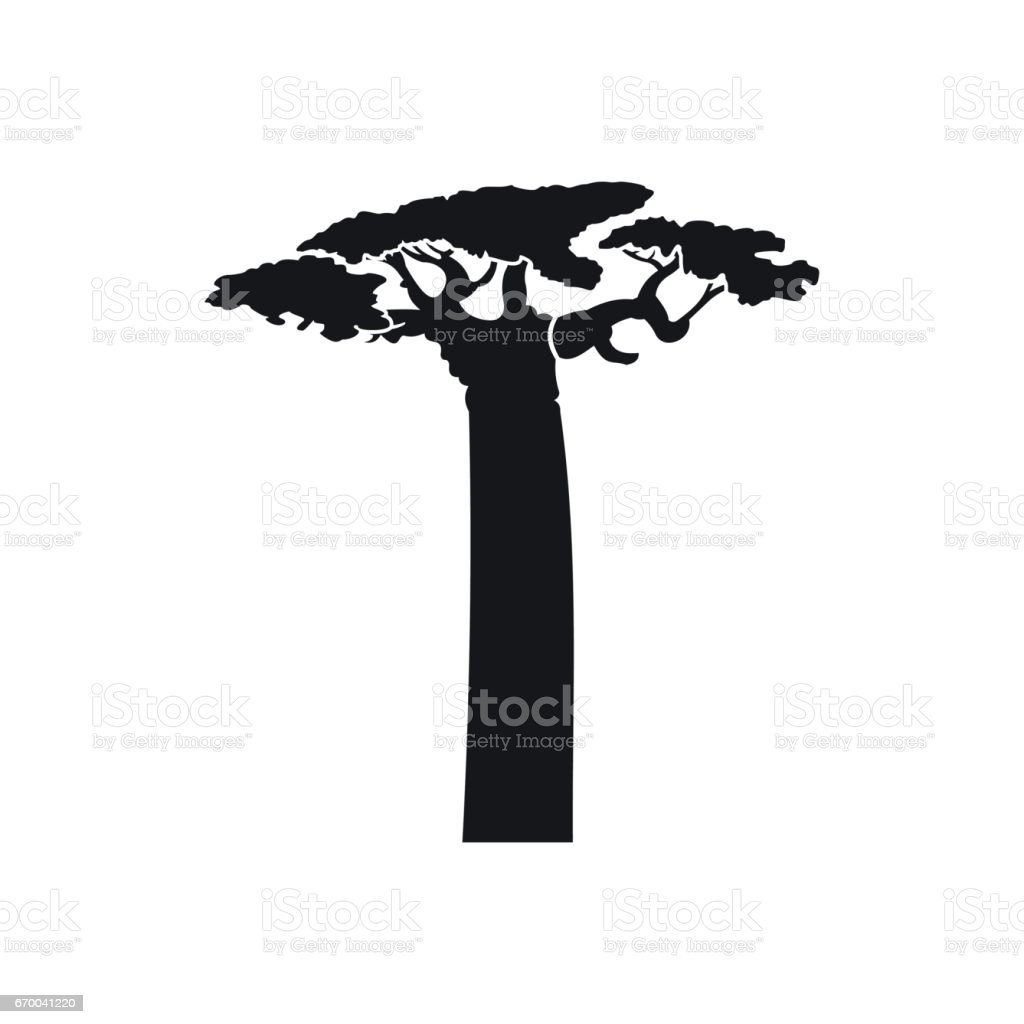 Baobab tree icon in simple style vector art illustration